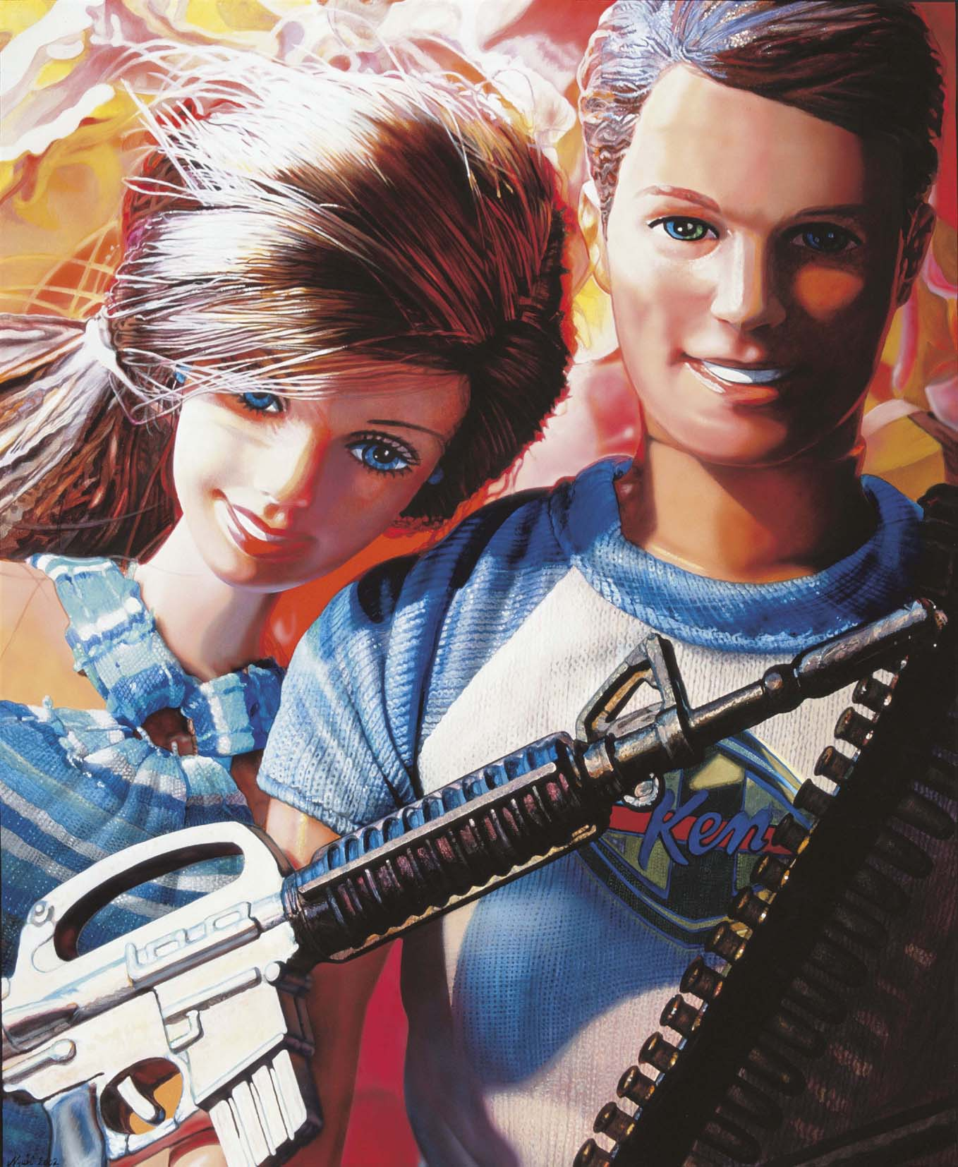 """<p style=""""text-align: center;"""">Barbie & Ken are playing guerillas – 2000 – 115x95cm – acrylik on canvas</p>"""