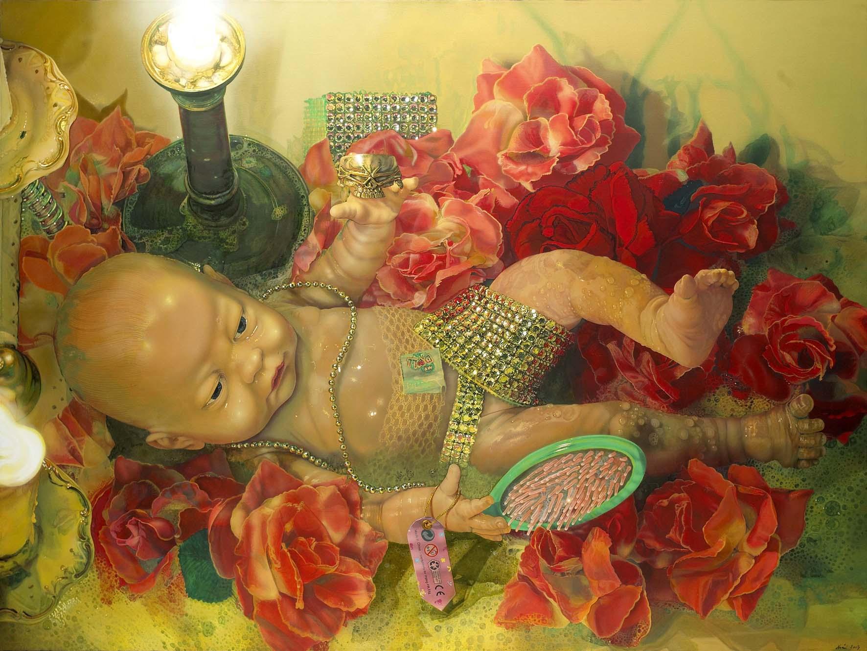 "<p style=""text-align: center;"">Rubber doll – 2003 – 150x200cm – acrylik on canvas</p>"