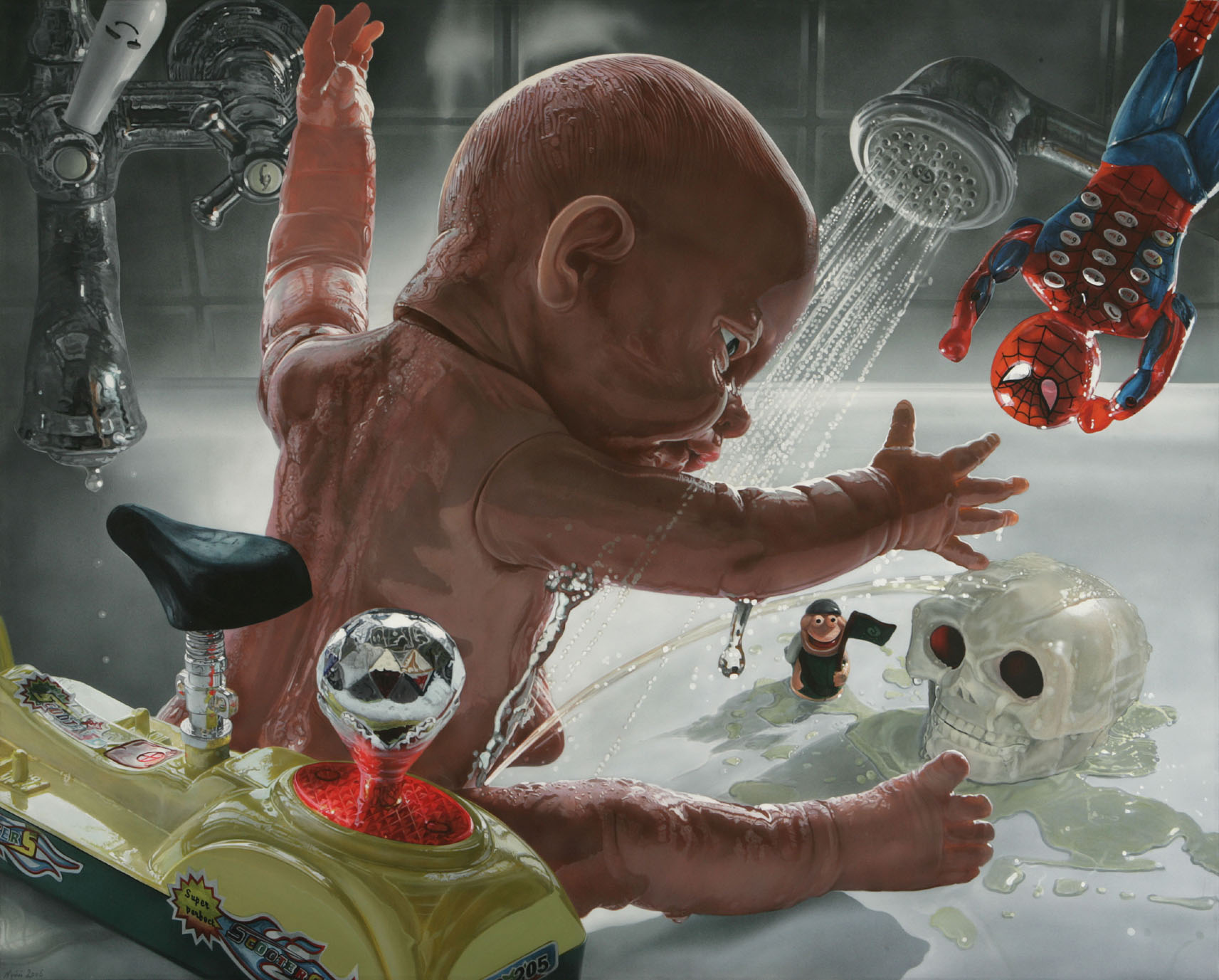 """<p style=""""text-align: center;"""">Baby Mannequin Pis playing Hamlet – 2006 – 120x150cm – acrylik on canvas</p>"""