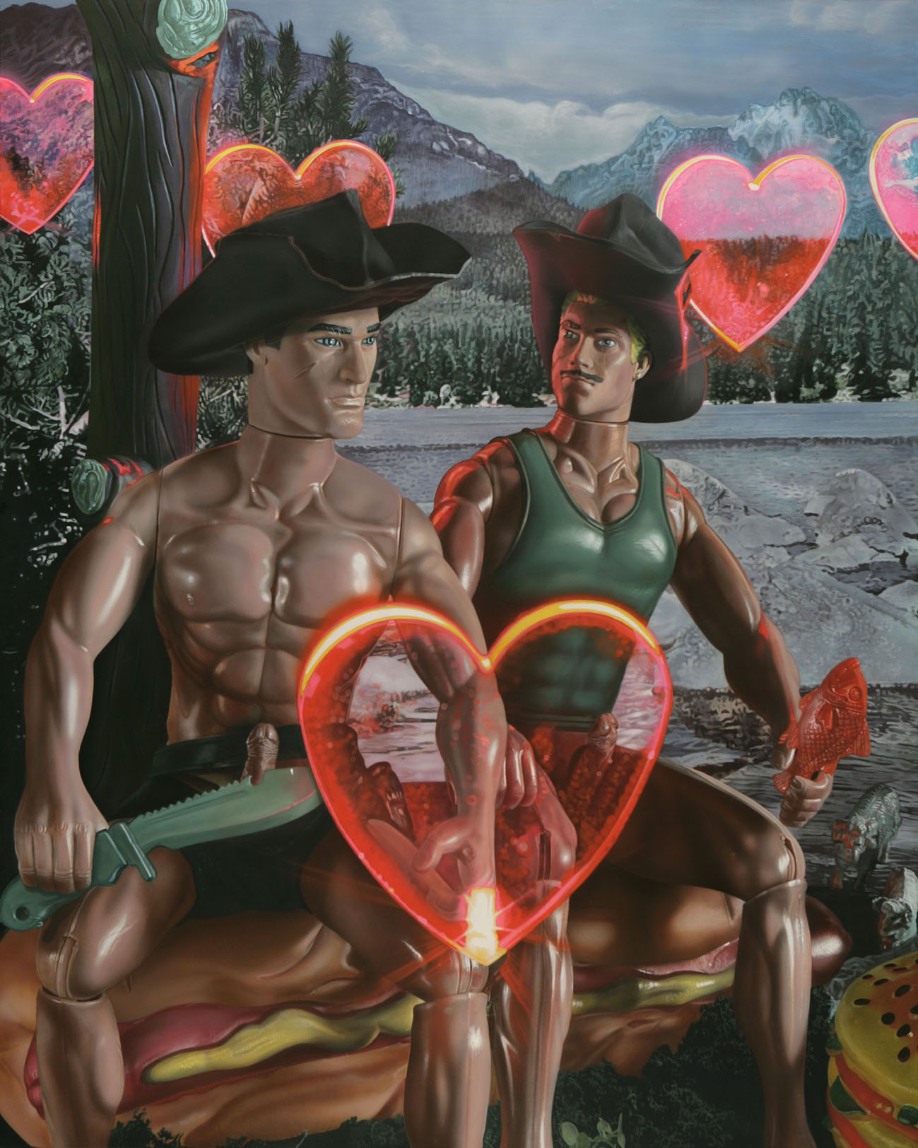 "<p style=""text-align: center;"">Fishing party at the lake of the Brokeback Mountain – 2006 – 150x120cm –<br>– acrylik on canvas</p>"