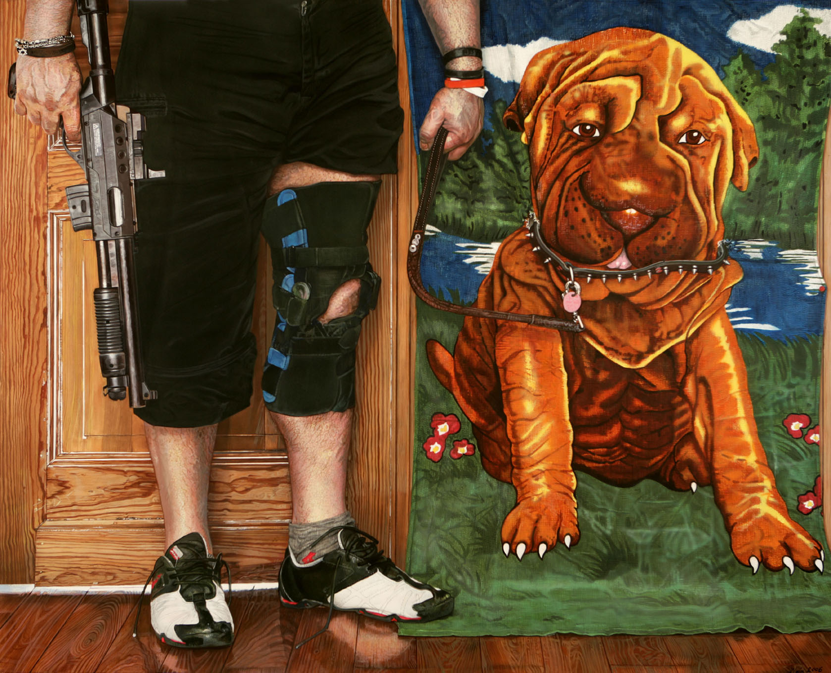 "<p style=""text-align: center;"">My deeply beloved terry cloth doggy – 2006 – 120x150cm – acrylik on canvas</p>"