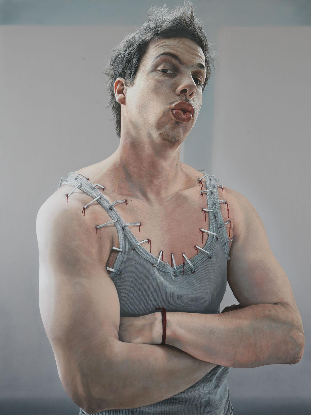 St. Sebastian makes Zoolander's incredible Magnum face – 2009 – 200x150cm – acrylik on canvas