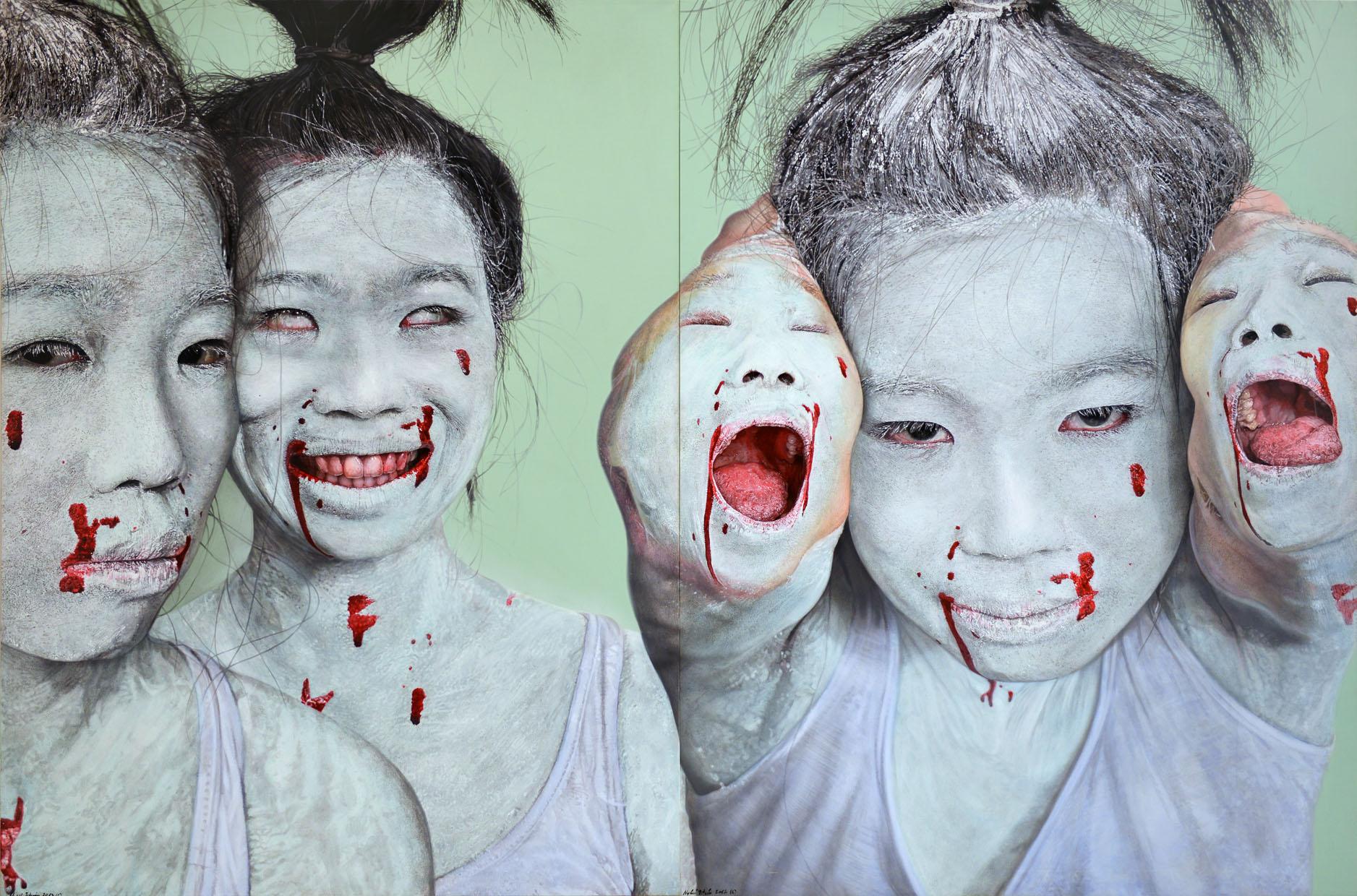 """<p style=""""text-align: center;"""">Geisha bites Geisha – 2012 – 200x300cm – acrylik on canvas</p>"""