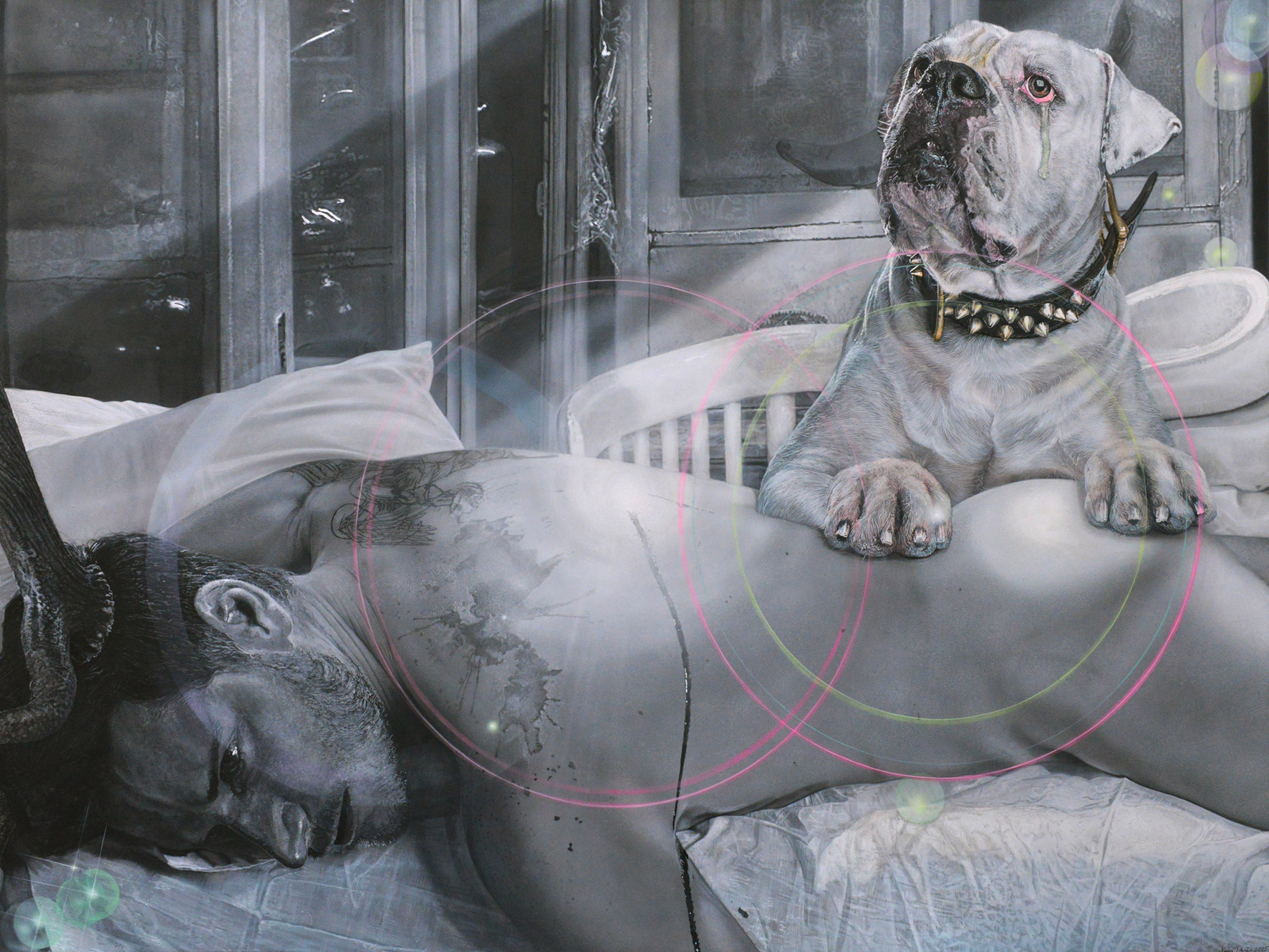 """<p style=""""text-align: center;"""">Crying dog of a dead Deerstalker – 2015 – 140x190cm – acrylik on canvas</p>"""