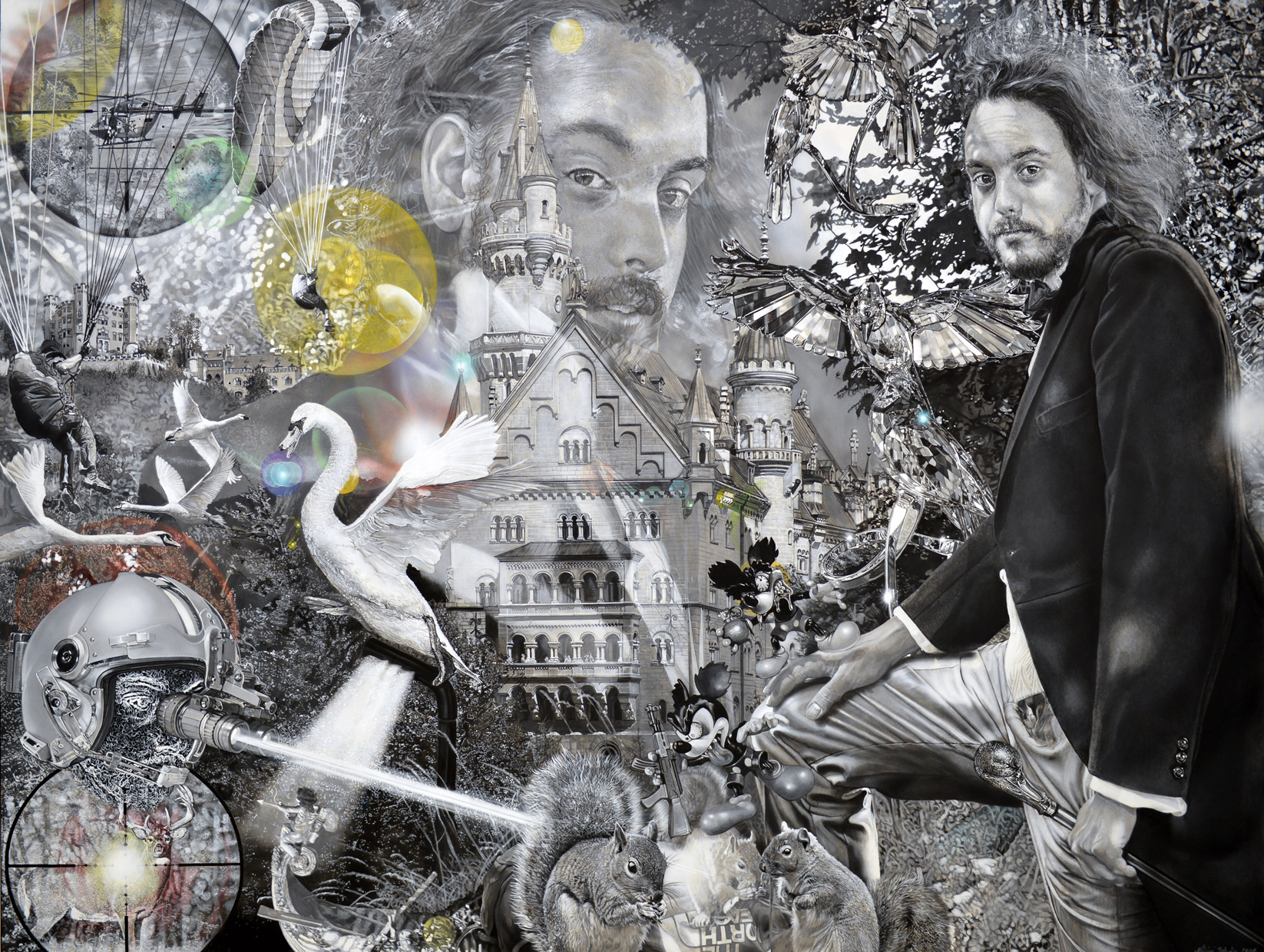 Benjamin impersonates King Ludwig the second – 2016 – 150x200cm – acrylik on canvas