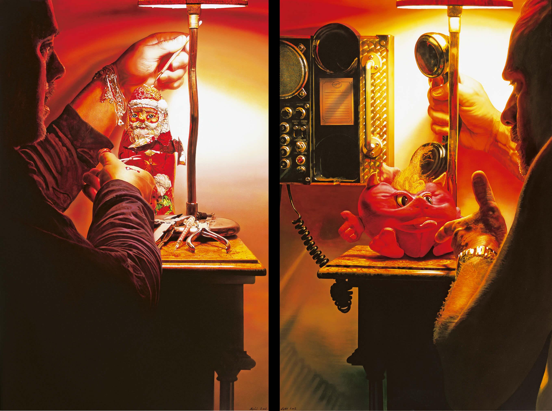 Peeling Santa Claus - 2003 - 150x100cm - acrylik on canvas<br>God I'll call the police! - 2003 - 150x100cm - acrilyk on canvas