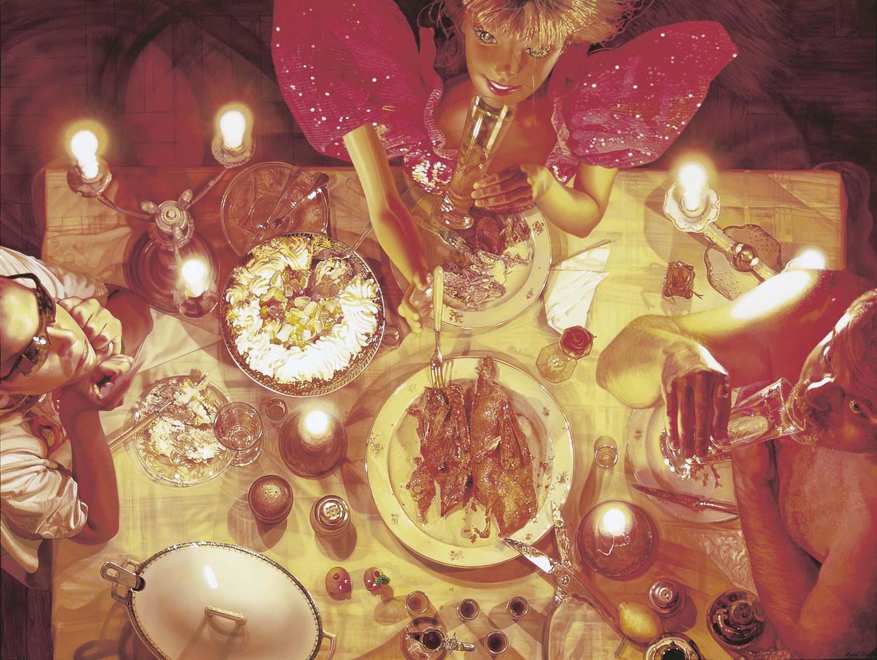 """<p style=""""text-align: center;"""">Dinner with barbie – 2003 – 150x200cm – acrylik on cancvas</p>"""