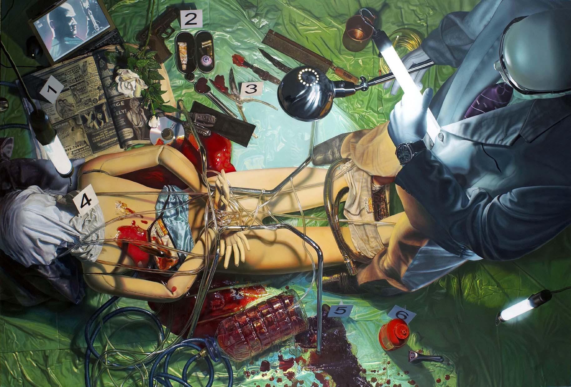 """<p style=""""text-align: center;"""">Killer scene – 2004 – 200x330cm – acrylik on canvas</p>"""