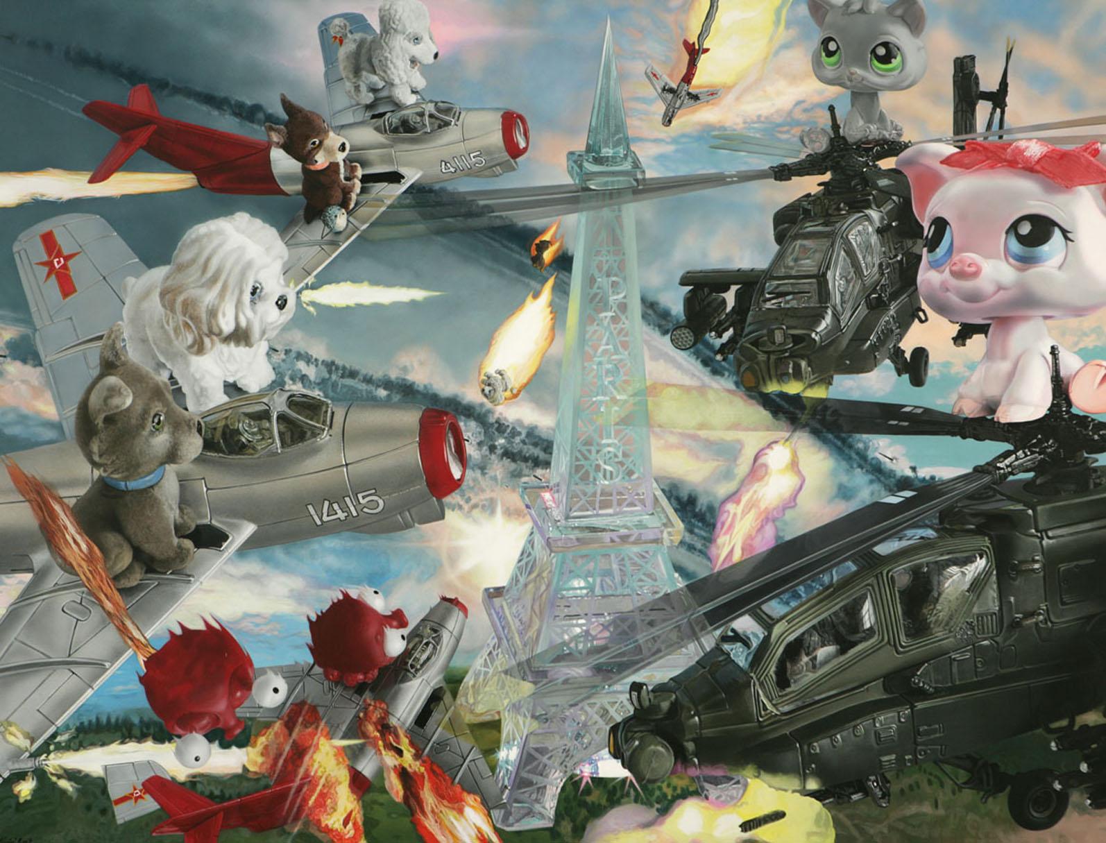 "<p style=""text-align: center;"">Airbattle over Paris – 2007 – 150x200cm – acrylik on canvas</p>"